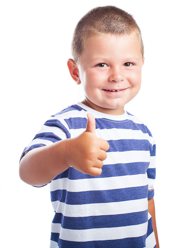 child thumb finger up with a white background